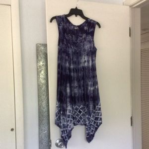 Boho, tie-dye, beach dress with front lace up.